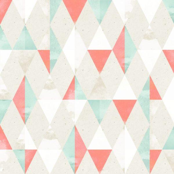 Papel de Parede Adesivo Geométrico Triangulos Salmão com Verde Claro