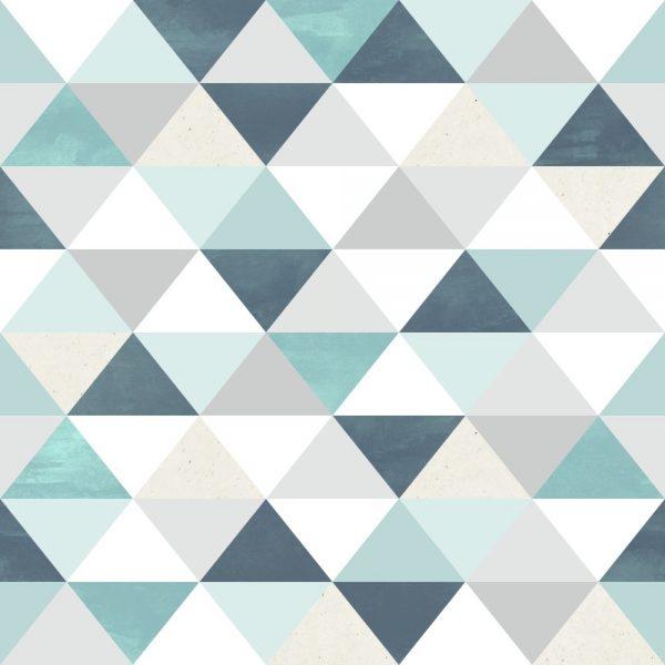Papel de Parede Adesivo Geométrico Triangulos Tons de Verde
