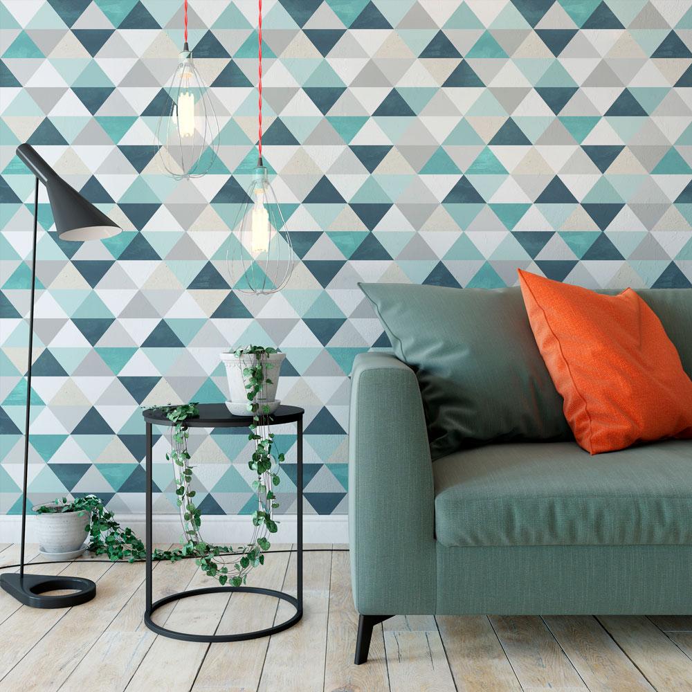Papel de parede adesivo geom trico triangulos tons de - Papel adhesivo para paredes ...