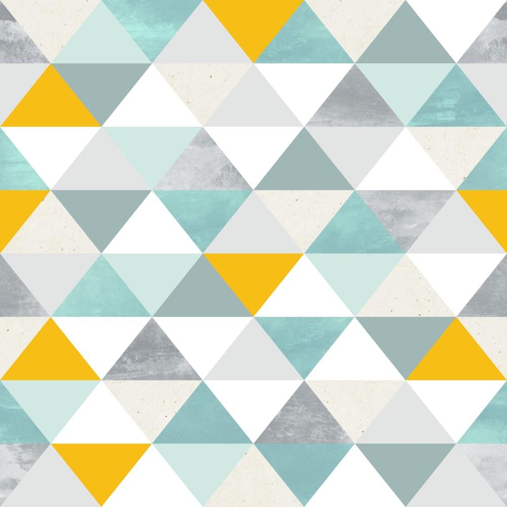 Artesanato Portugues Revenda ~ Papel de Parede Adesivo Geométrico Triangulos Tons de Verde com Amarelo EuColo