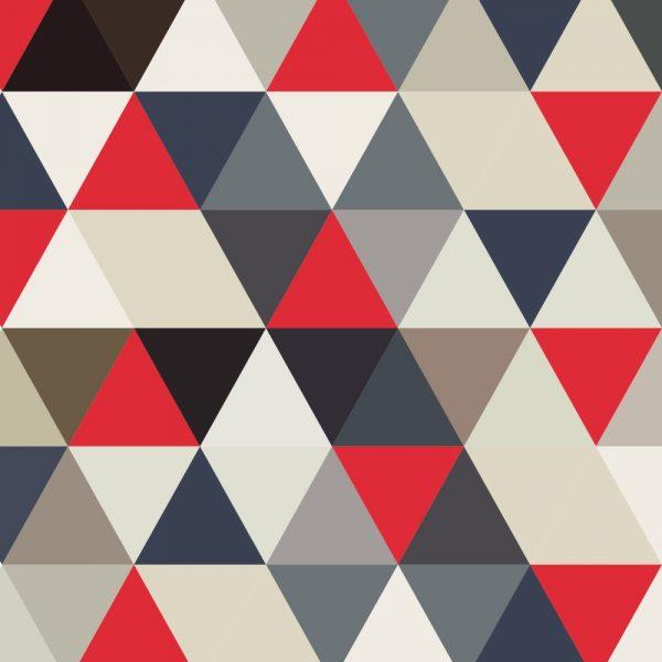 Papel de Parede Adesivo Geométrico Triangulos Vermelho com Azul e Bege