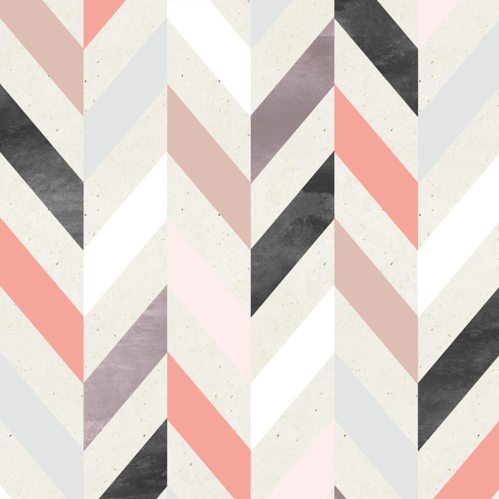 Papel de parede adesivo geom trico zig zag salm o e rosa - Papel autoadhesivo para paredes ...