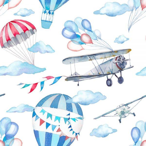 Papel de Parede Adesivo Infantil Avião com Nuvens