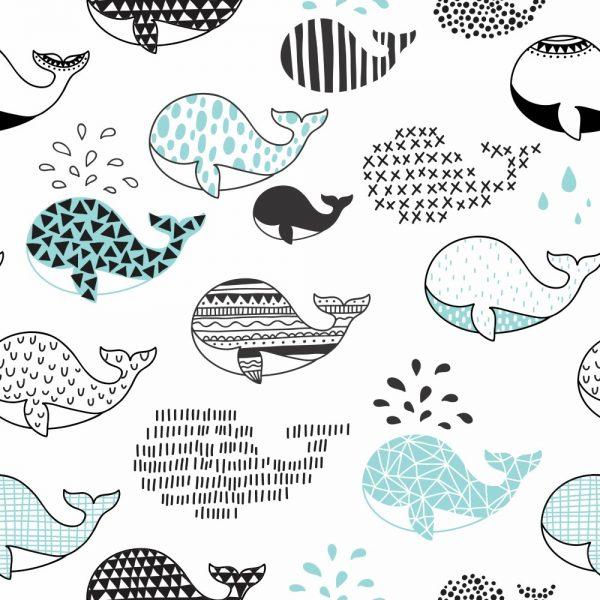 Papel de Parede Adesivo Infantil Baleias Divertidas