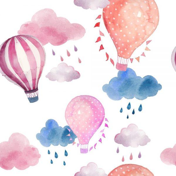 Papel de Parede Adesivo Infantil Balões com Nuvens