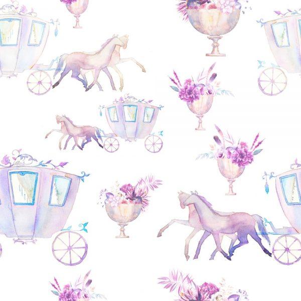Papel de Parede Adesivo Infantil Carruagem da Princesa