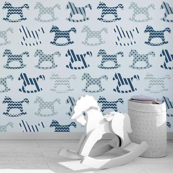 Papel de Parede Adesivo Infantil Cavalinho Azul R$49,00
