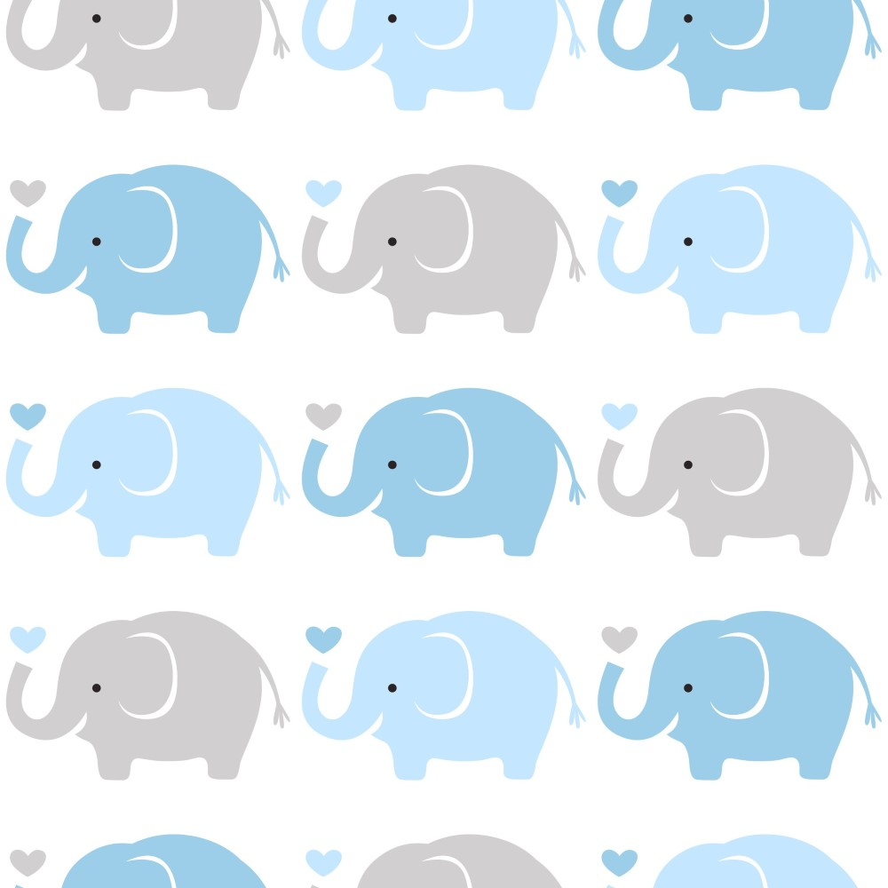 Papel de parede adesivo infantil elefantes azul e cinza for Papel para pared infantil