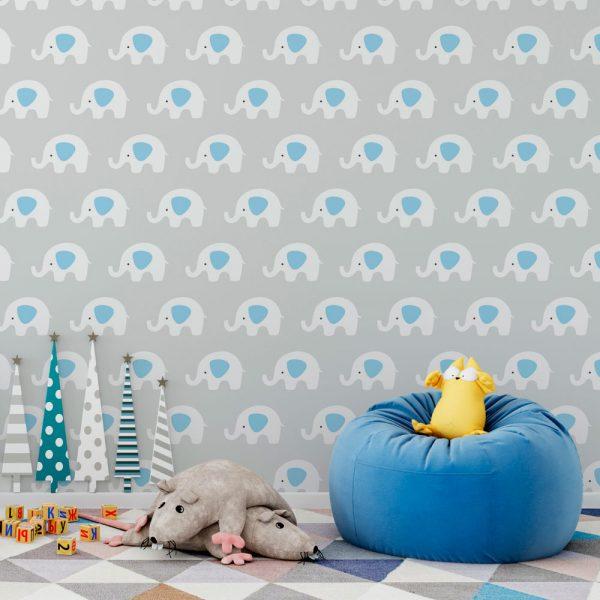 Papel de Parede Adesivo Infantil Elefantes Branco com Fundo Cinza