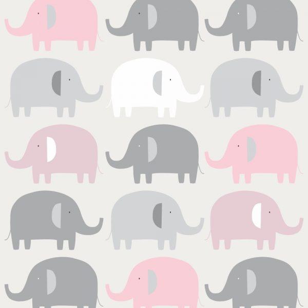 Papel de Parede Adesivo Infantil Elefantes Cinza e Rosa