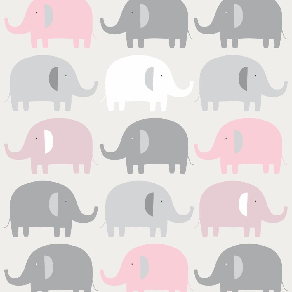 Papel de parede adesivo infantil elefantes cinza e rosa for Papel para pared infantil