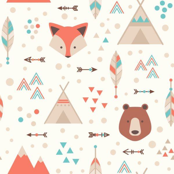 Papel de Parede Adesivo Infantil Floresta com Urso