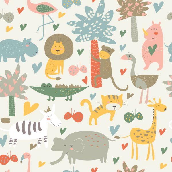Papel de Parede Adesivo Infantil Floresta de Animais