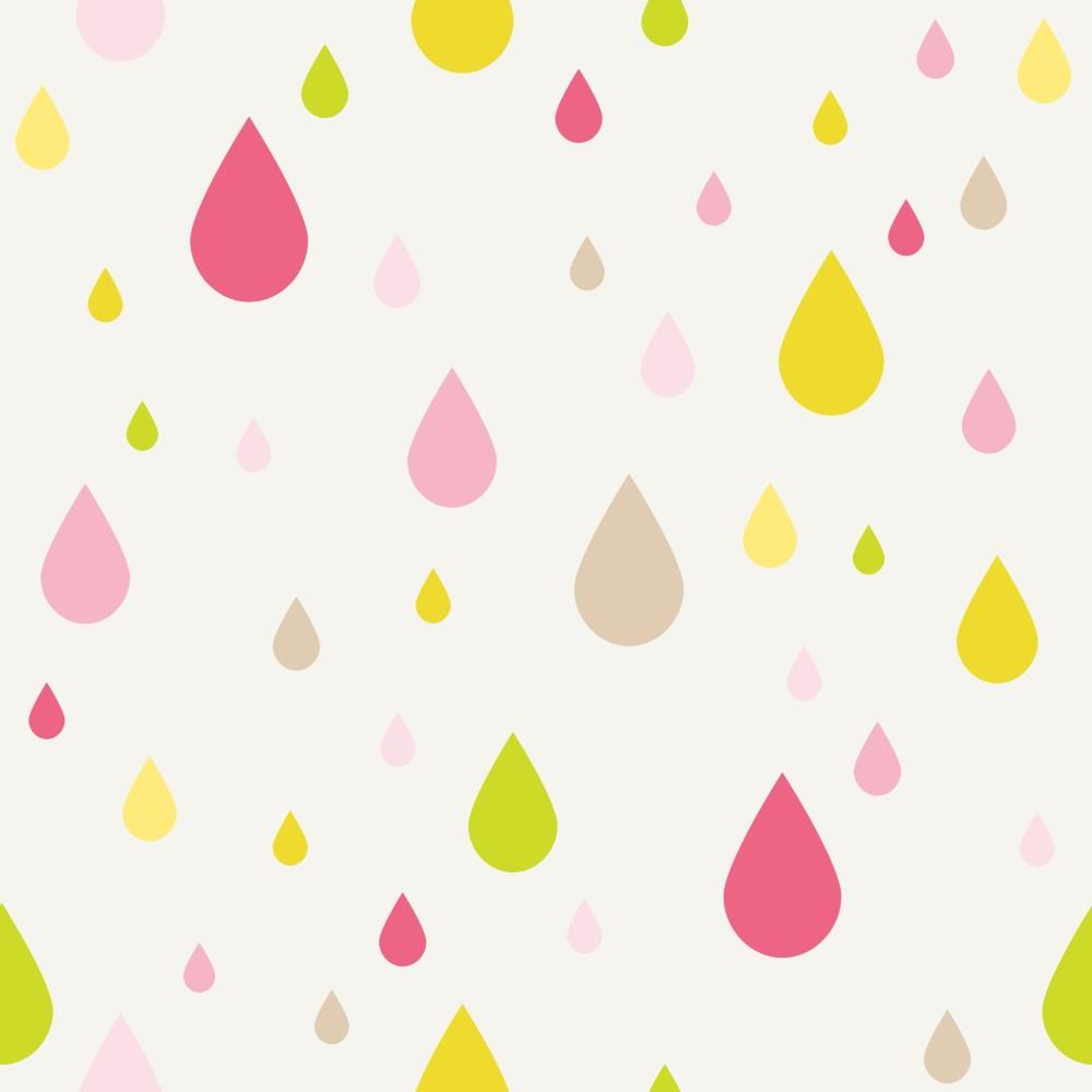 Papel de parede adesivo infantil gotas coloridas eucolo for Papel decomural infantil