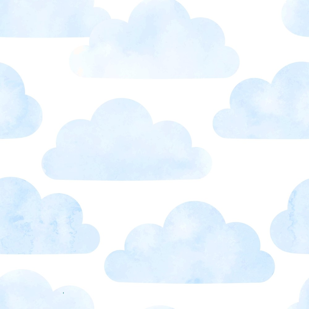 Papel de parede adesivo infantil nuvens azul eucolo for Papel decomural infantil