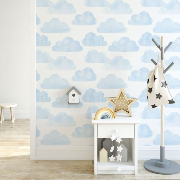 Papel de Parede Adesivo Infantil Nuvens Azul