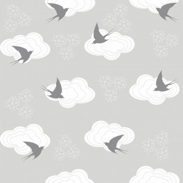 Papel de Parede Adesivo Infantil Nuvens com Passarinhos