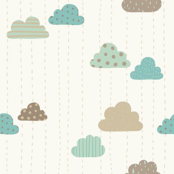 Papel de Parede Adesivo Infantil Nuvens Divertidas