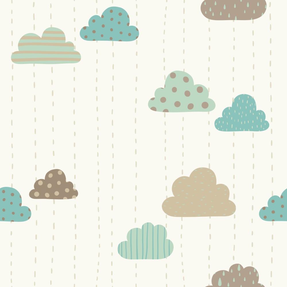 Papel de parede adesivo infantil nuvens divertidas eucolo for Papel decomural infantil