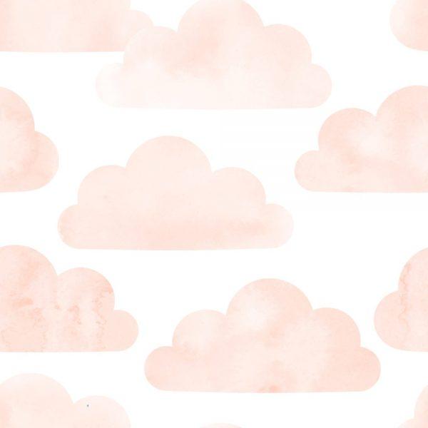 Papel de Parede Adesivo Infantil Nuvens Rosa