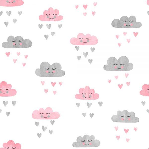 Papel de Parede Adesivo Infantil Nuvens Rosa e Cinza