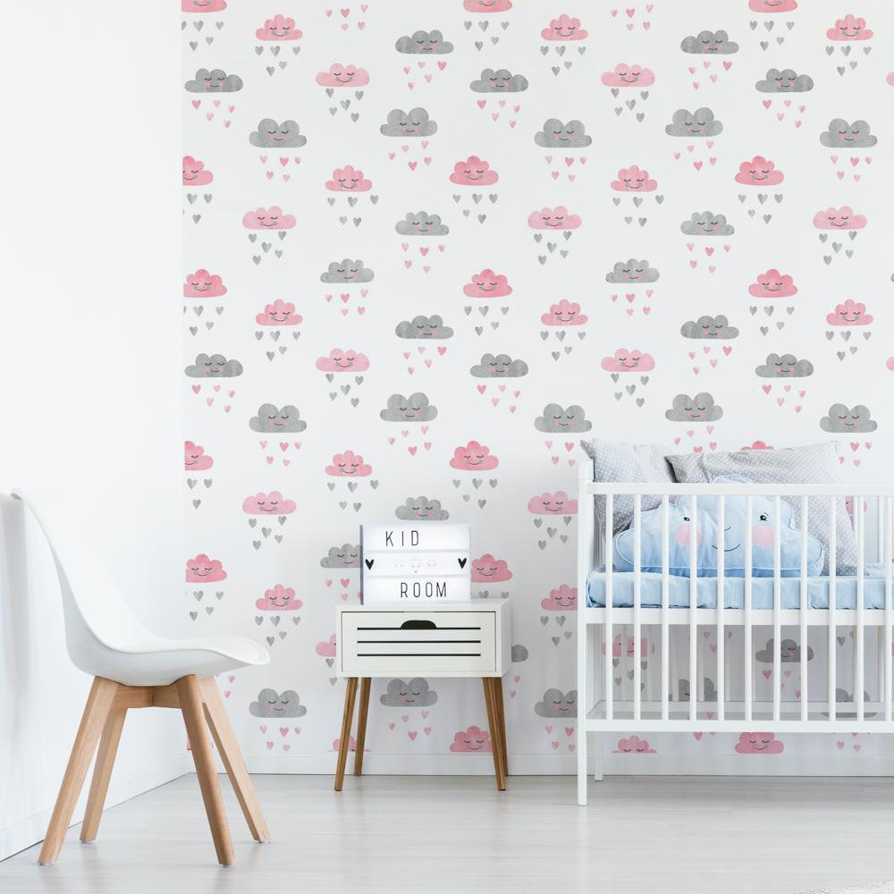Papel de parede adesivo infantil nuvens rosa e cinza eucolo for Papel decorativo pared infantil