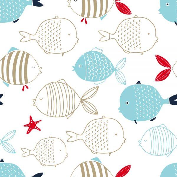 Papel de Parede Adesivo Infantil Peixes