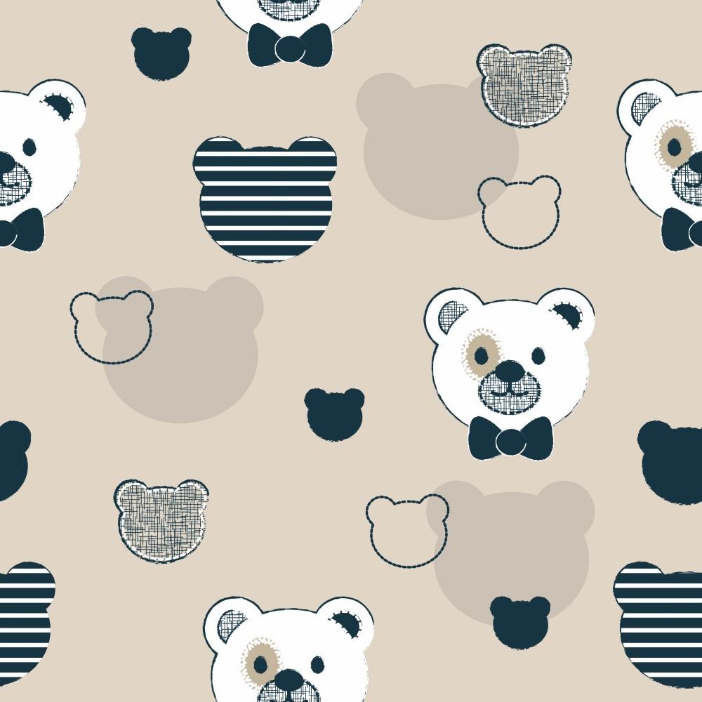 Papel de parede adesivo infantil ursos com fundo bege eucolo for Papel para empapelar infantil