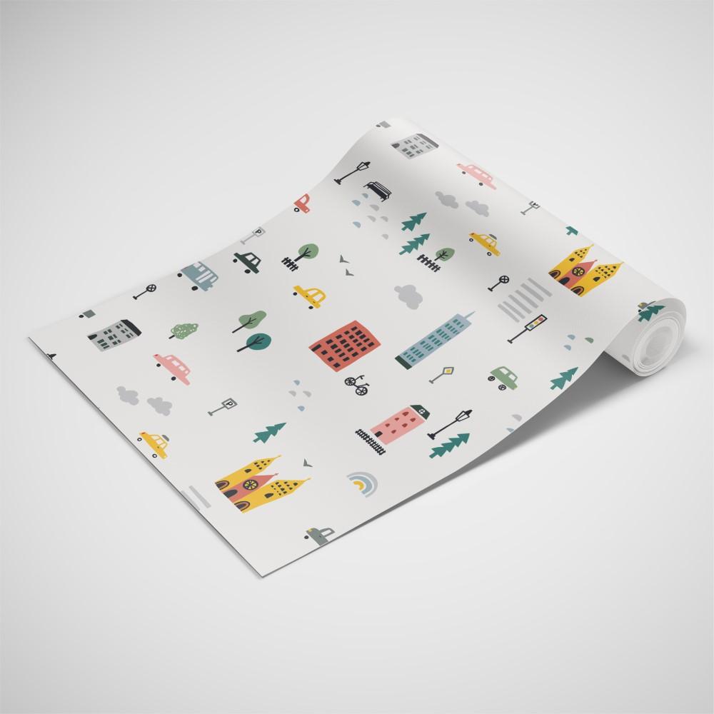 Papel de parede adesivo infantil cidade minimalista eucolo - Papel para pared infantil ...