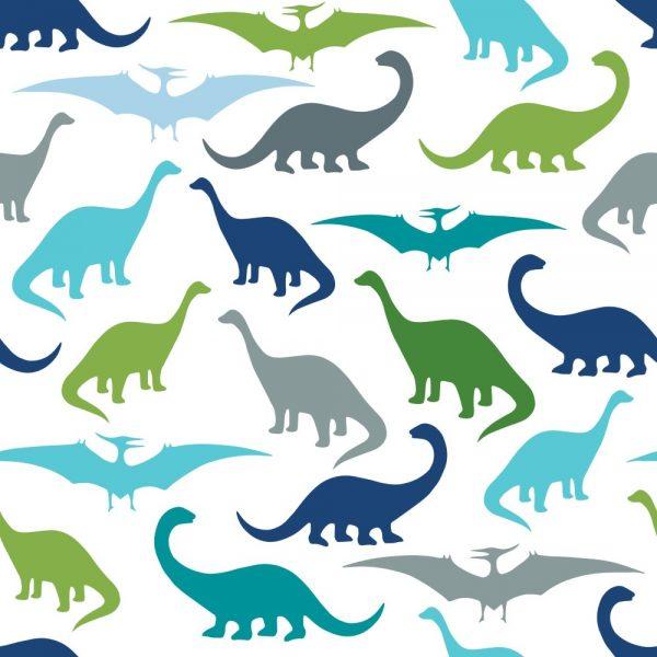 Papel de Parede Adesivo Infantil Dinossauros Azul Verde e Cinza