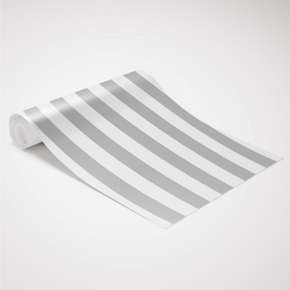 Artesanato Rede ~ Papel de Parede Adesivo Listrado Cinza e Branco EuColo