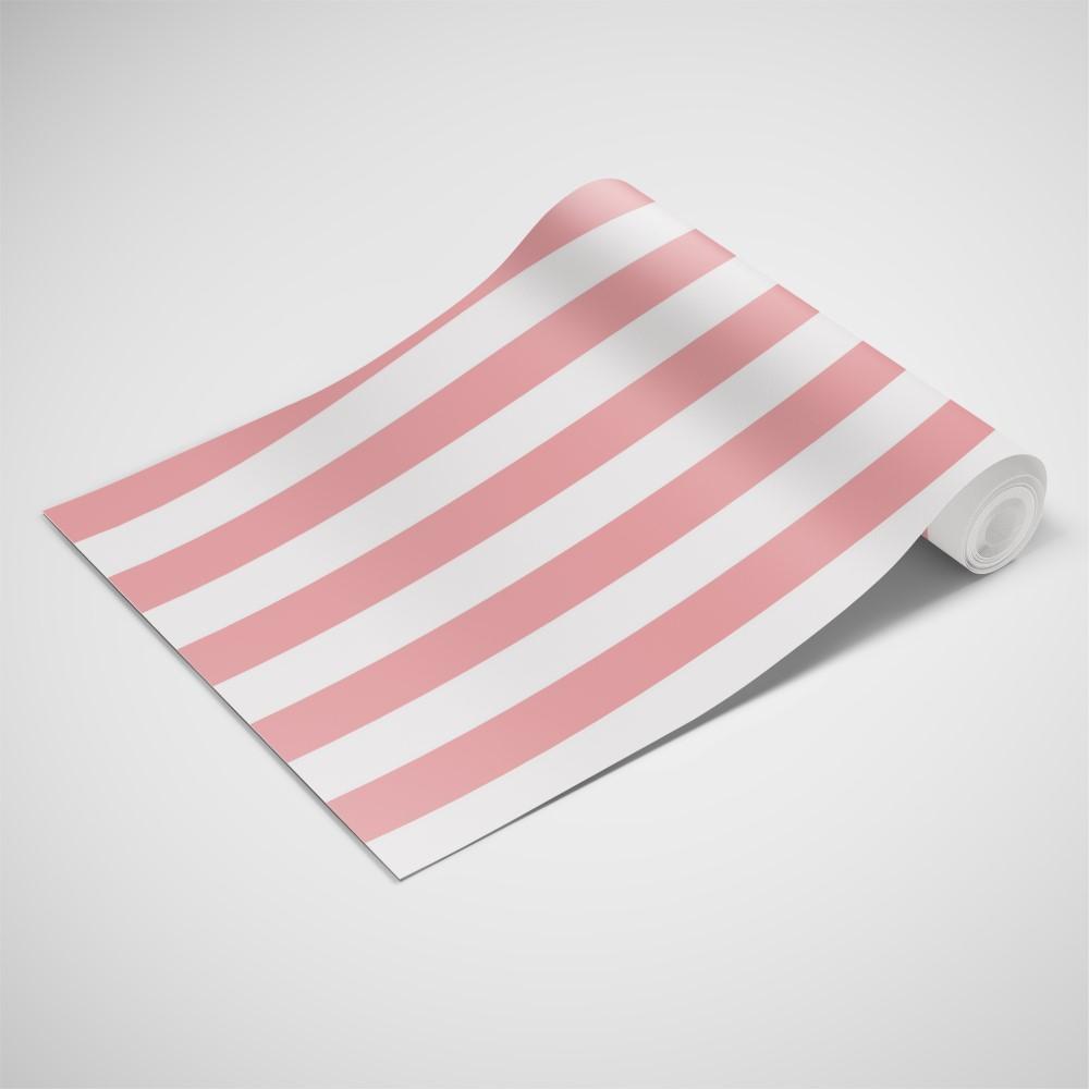 Adesivo De Parede Arvore Com Fotos ~ Papel de Parede Adesivo Listrado Rosa Salm u00e3o e Branco EuColo
