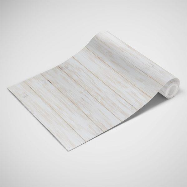 Papel de Parede Adesivo Madeira Branco Horizontal