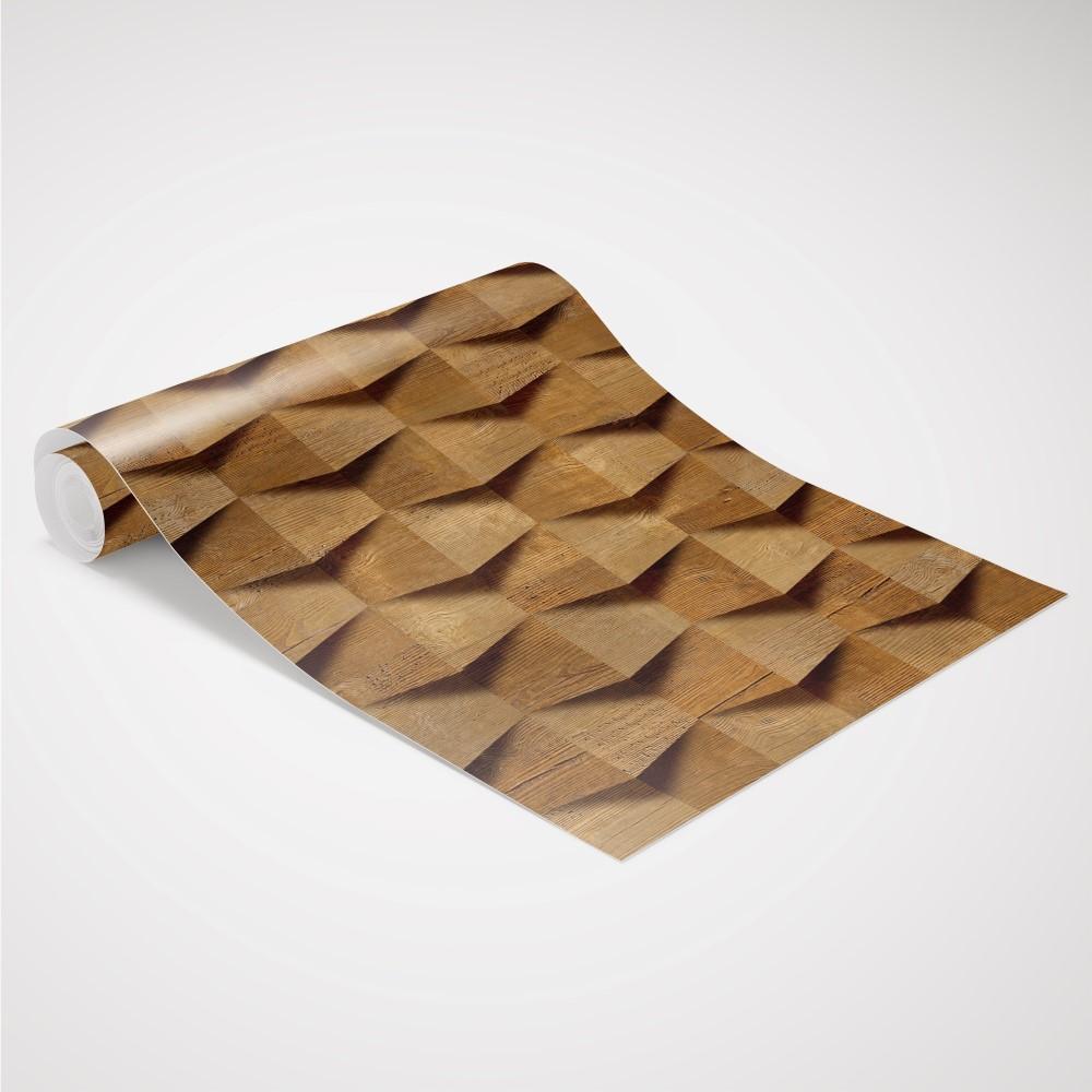 Aparador De Livros Turquesa ~ Papel de Parede Adesivo Madeira Entalhe 3D EuColo