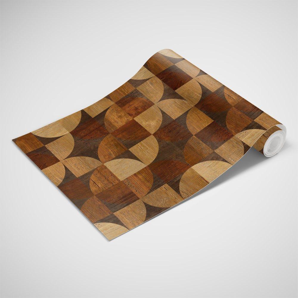 Papel de Parede Adesivo Madeira Geométrico Mosaico