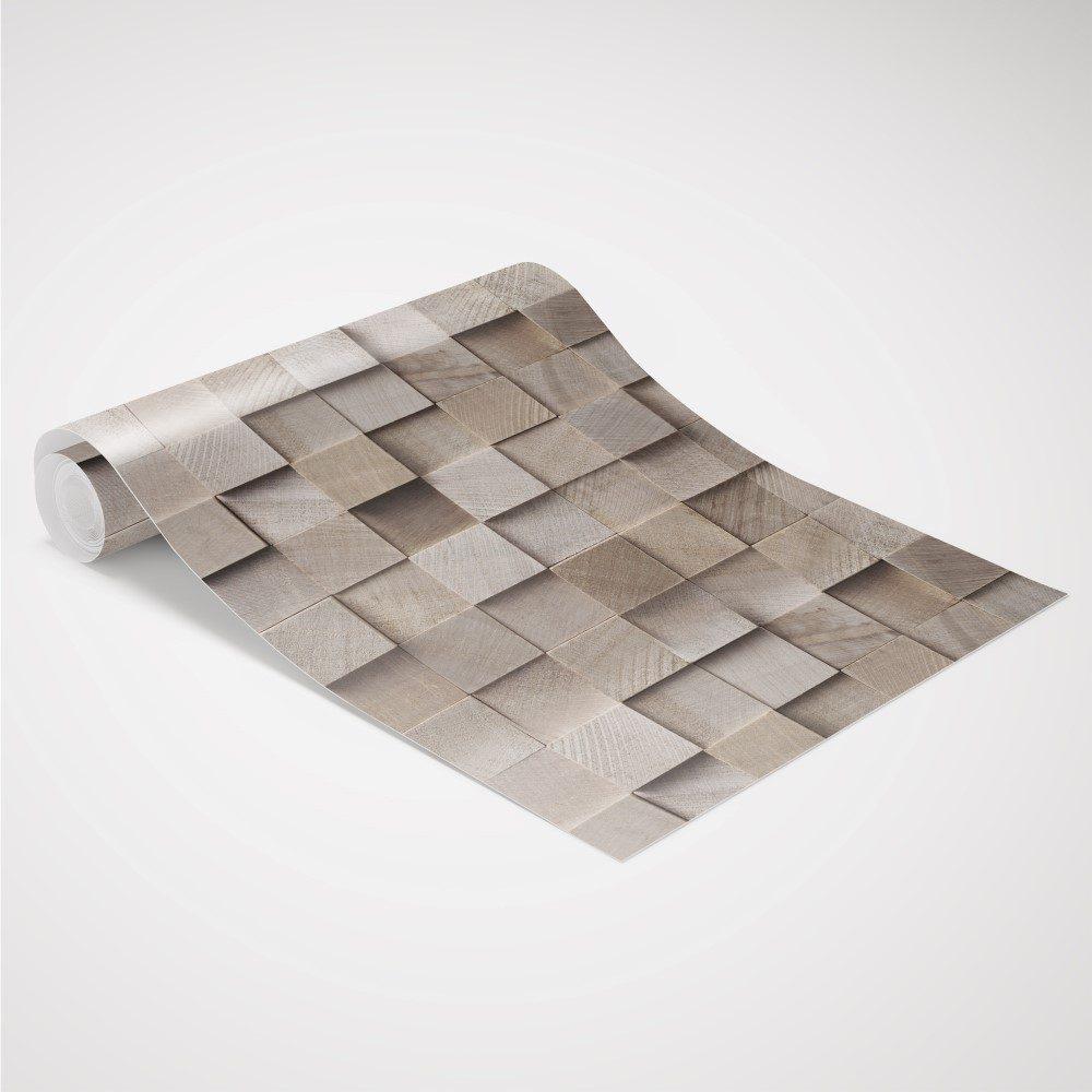 Papel de Parede Adesivo Madeira Quadrados 3D