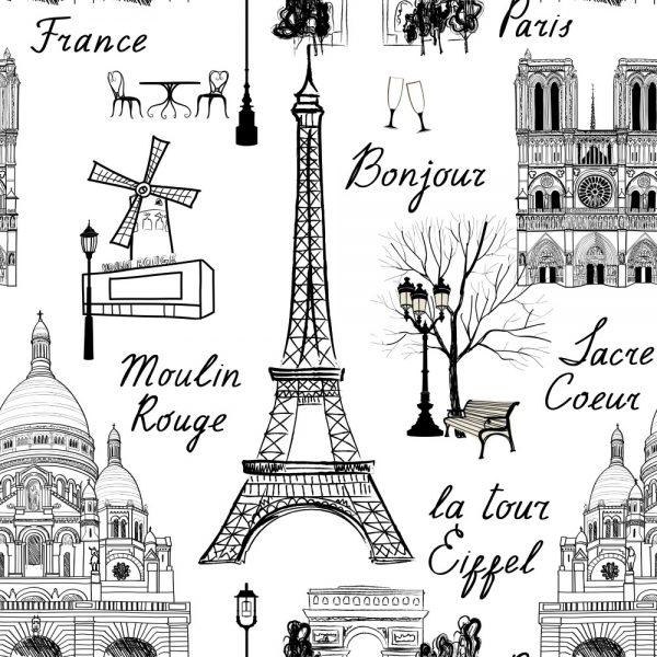 Papel de Parede Adesivo Paris Contorno