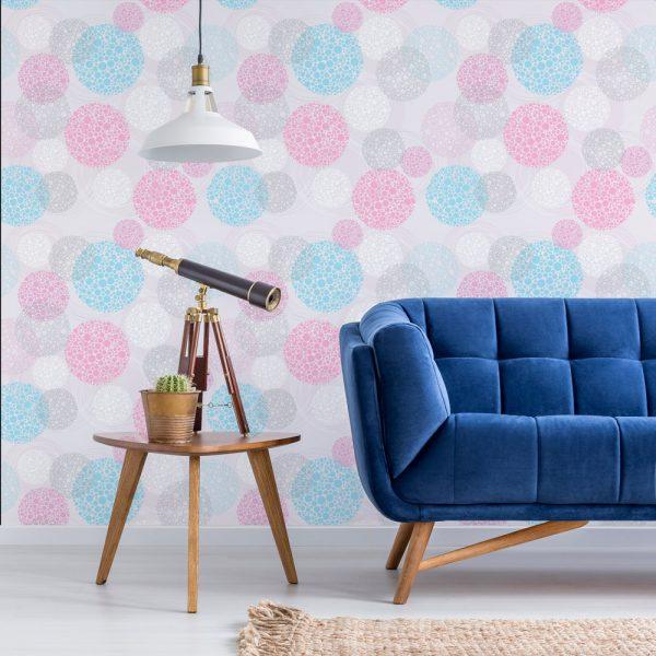 Papel de Parede Adesivo Poás Abstratos Azul e Rosa