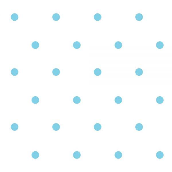 Papel de Parede Adesivo Poás Bolinhas Azul com Fundo Branco