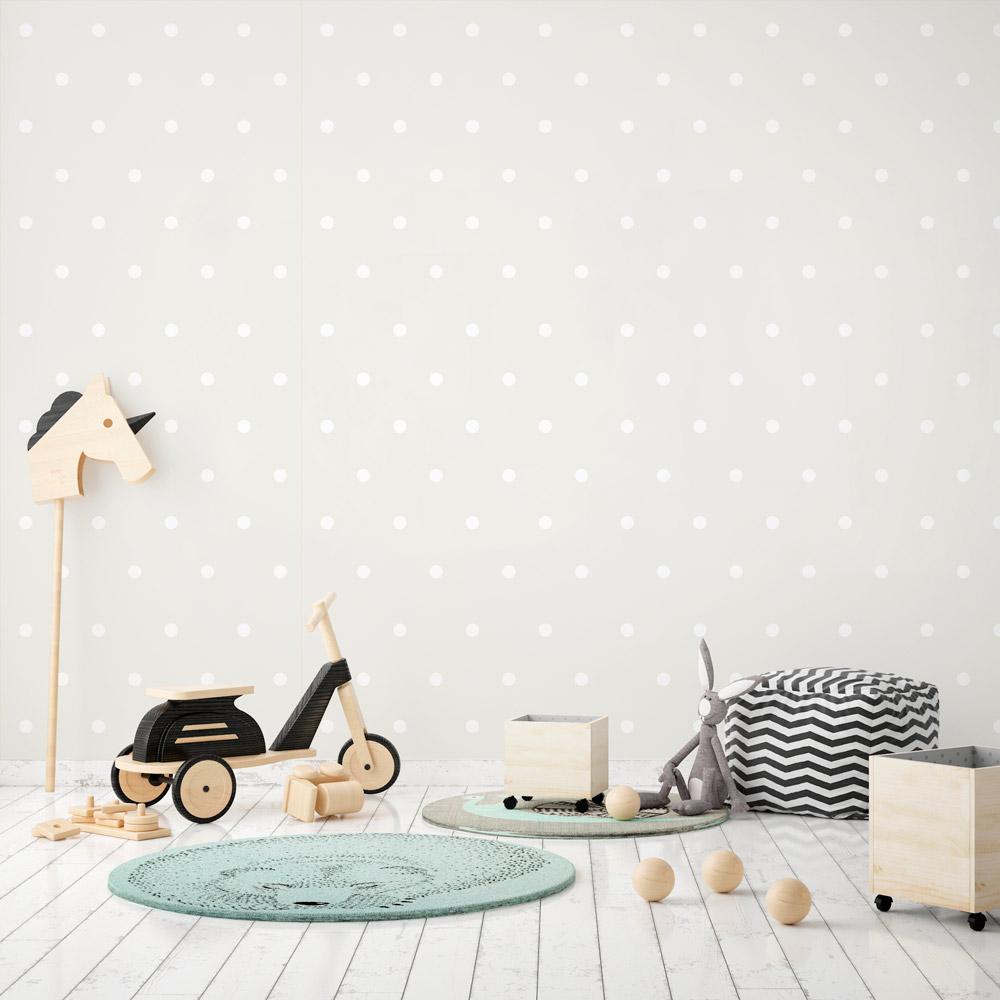Papel de parede adesivo poas bolinhas brancas com fundo - Papel infantil para paredes ...