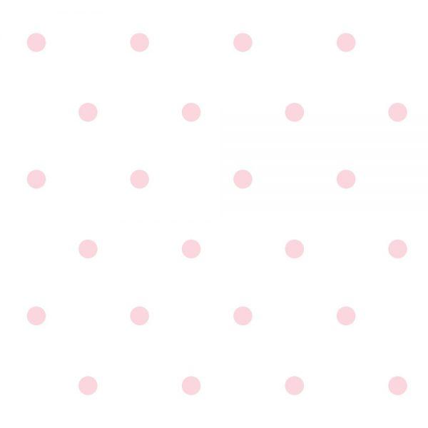Papel de Parede Adesivo Poás Bolinhas Rosa com Fundo Branco