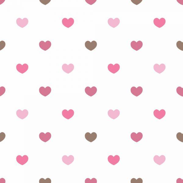 Papel de Parede Adesivo Poás Corações Rosas