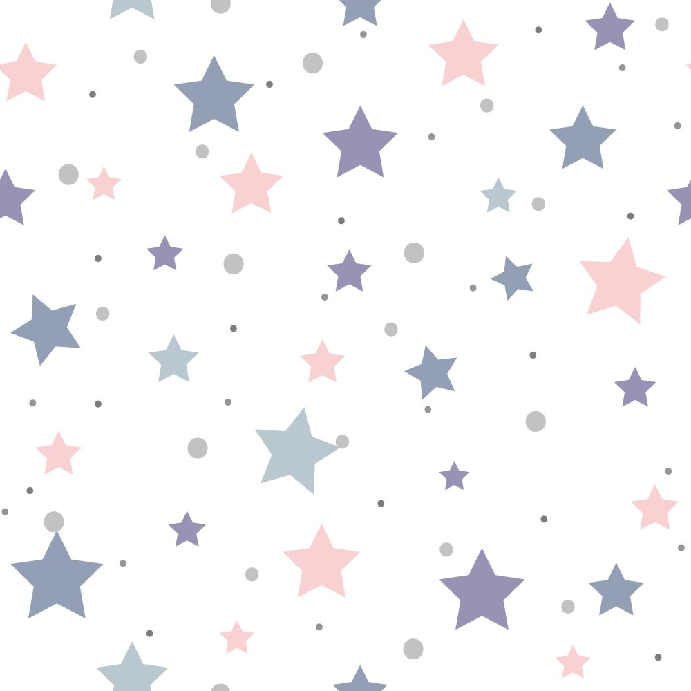 Aparador Gris Decapado ~ Papel de Parede Adesivo Poas Estrelinhas Lilás e Rosa EuColo
