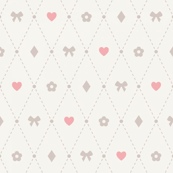 Papel de Parede Adesivo Poás Treliça de Coração Laço e Elementos