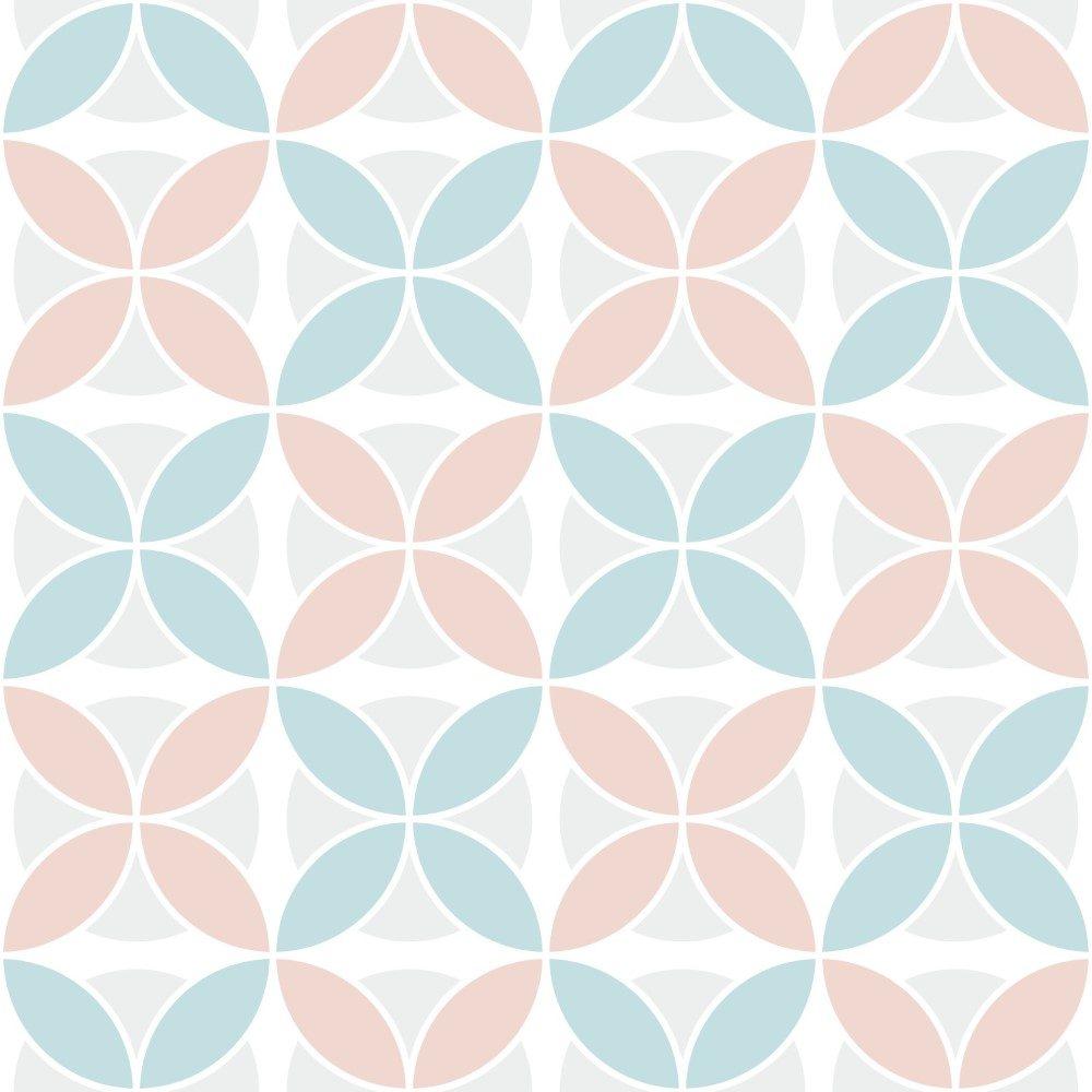 Papel de Parede Adesivo Retro Azul e Rosa Pastel