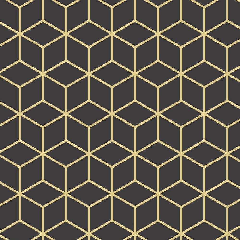 Papel de Parede Adesivo Retro Cubos Dourado
