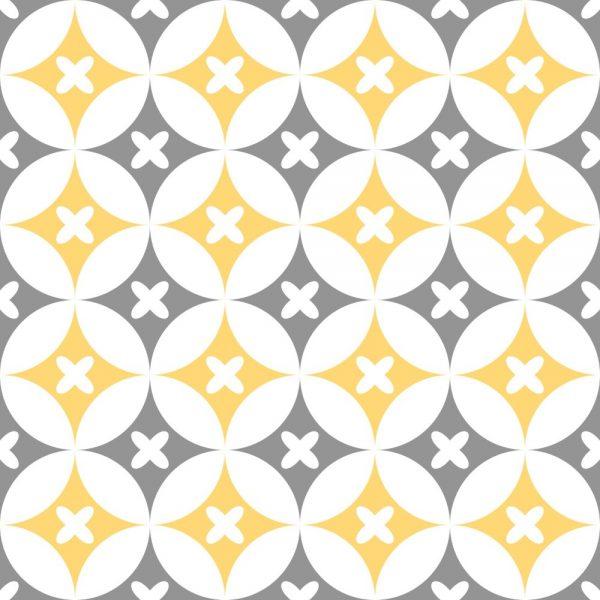 Papel de Parede Adesivo Retro Geométrico Floral Cinza e Amarelo