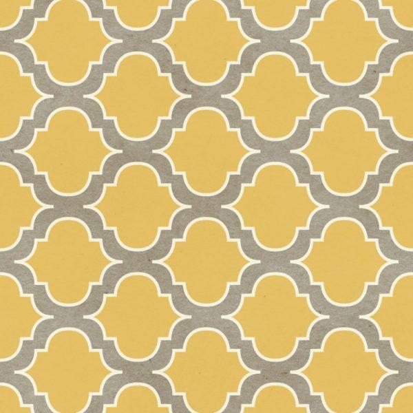 Papel de Parede Adesivo Retro Treliça Amarelo e Marrom