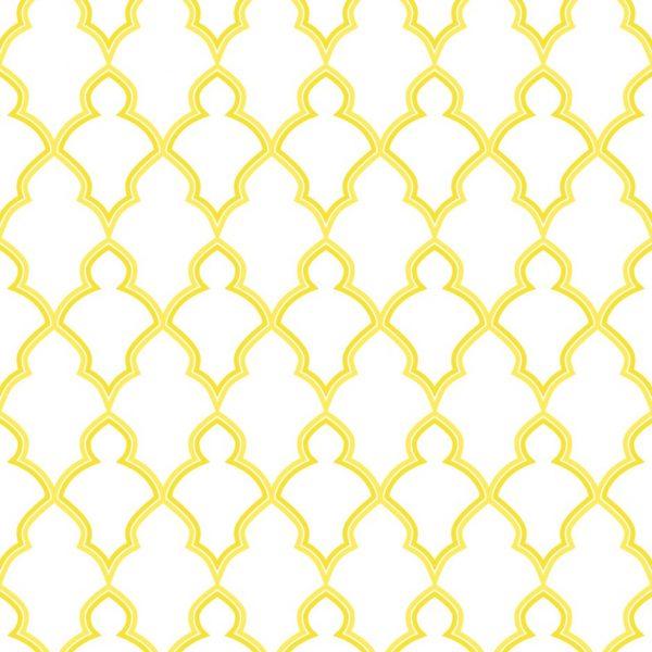 Papel de Parede Adesivo Retro Treliça Contorno Amarelo