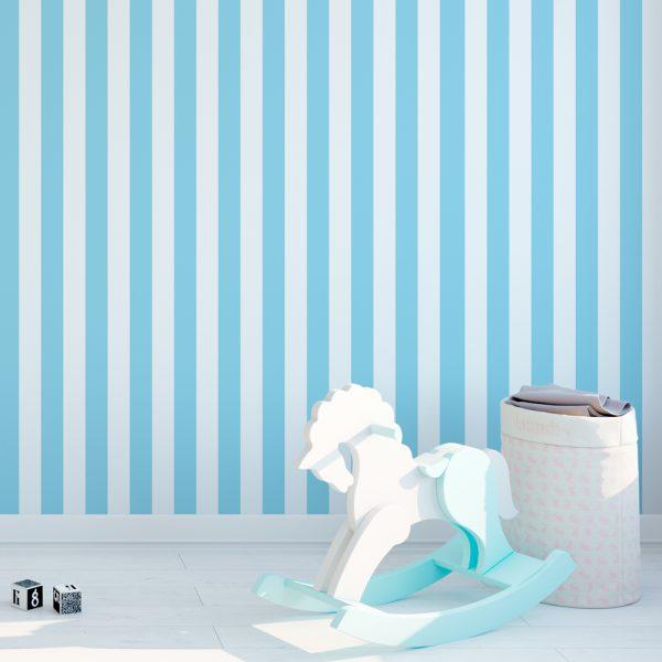 Papel de Parede Adesivo Listrado Azul e Branco